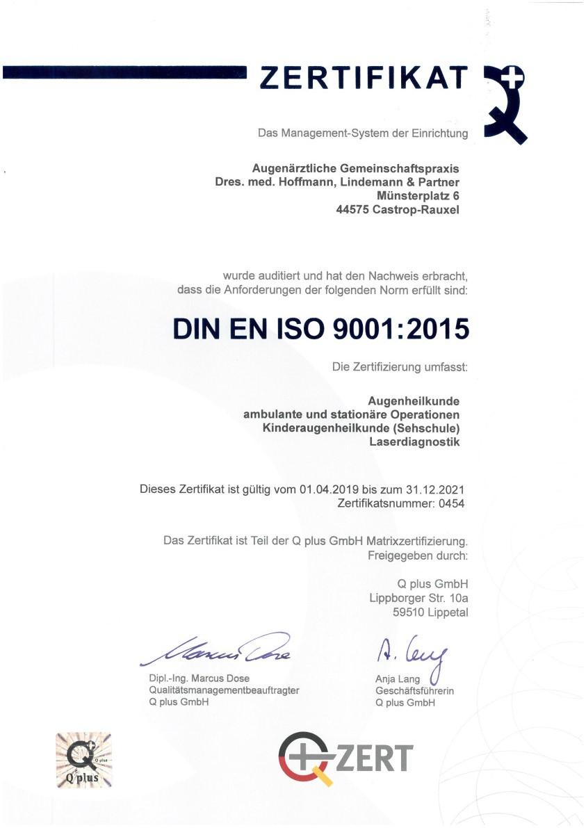 Augenklinik Castrop-Rauxel DIN EN ISO 9001:2015 Zertifikat